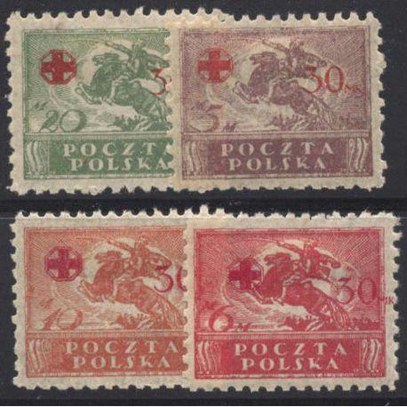 Briefmarke Sammlung Polen N° Yvert und Tellier 231/234 neun mit Scharnier