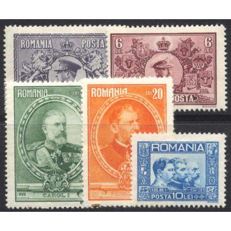 Francobollo collezione Romania N° Yvert e Tellier 406/410 nove con cerniera