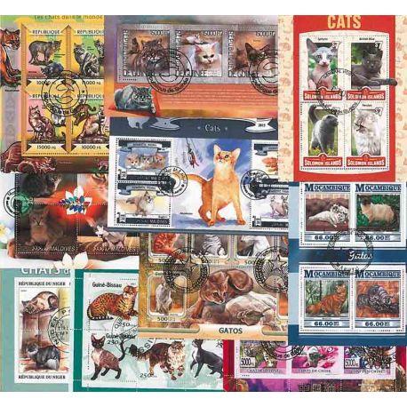 Collection Timbres Chats 10 blocs modernes oblitérés sur le théme des Chats à partir de 19,00 €