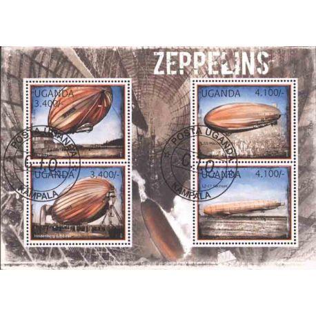 Bloc de 4 timbres Zeppelin de l'Ouganda