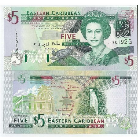 Billets collection Caraibes etats de l'est Pk N° 47 - 5 dollars