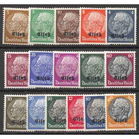 Occupazione tedesca Série Alsazia N° 8 a 23
