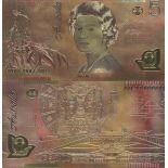 Australia biglietto di banca di 5 dollaro e dorato all'oro fine 24K