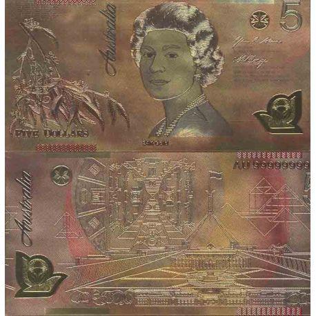 Australie Billet de banque de 5 Dollar colorisé et doré à l'or fin 24K