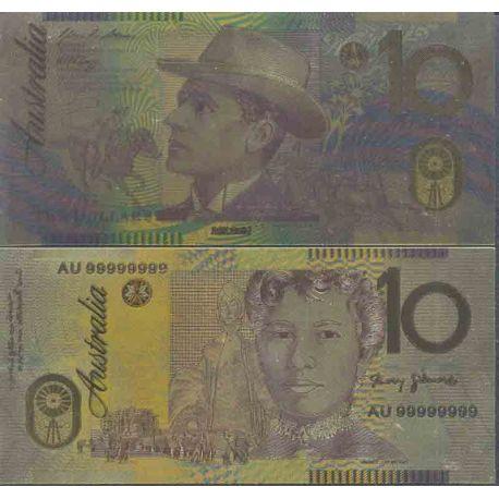 Australie Billet de banque de 10 Dollar colorisé et doré à l'or fin 24K