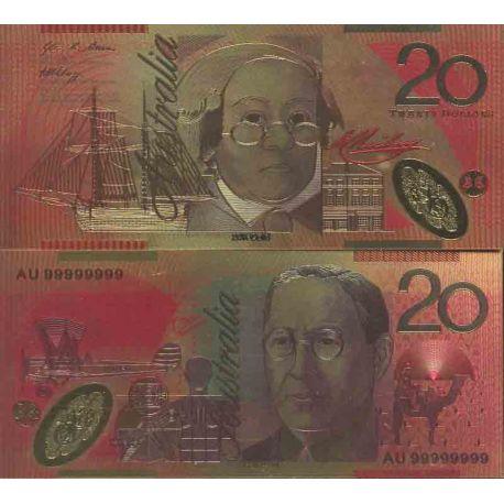 Australie Billet de banque de 20 Dollar colorisé et doré à l'or fin 24K