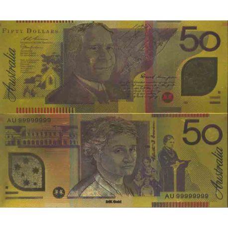 Australie Billet de banque de 50 Dollar colorisé et doré à l'or fin 24K