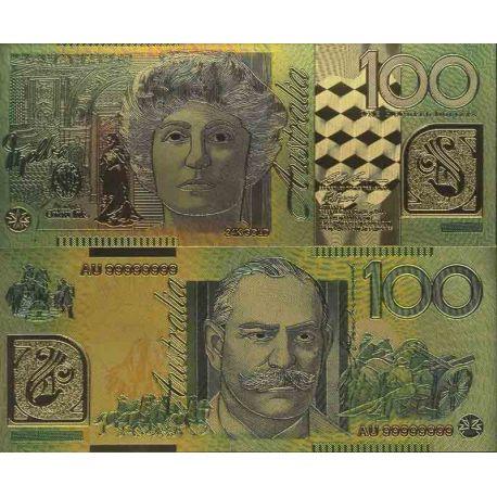 Australie Billet de banque de 100 Dollar colorisé et doré à l'or fin 24K