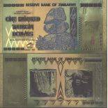 Zimbabwe Banknote of 100000000000 Dollar colourized and gilded with the fine gold 24K