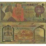 Arabia Saudita biglietto di banca di 20 Ryal e dorato all'oro fine 24K