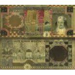 La Arabia Saudí Billete de banco de 50 Ryal coloreado y dorado al oro fino 24K