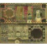 Saudi Arabia Banknote of 50 Ryal colourized and gilded with the fine gold 24K