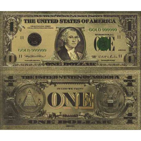 Etats Unis Billet de banque de 1 Dollar colorisé et doré à l'or fin 24K