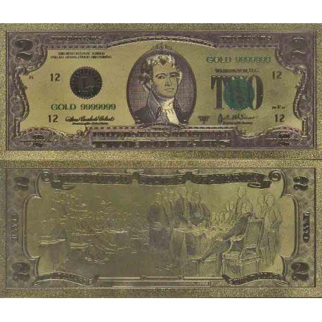 Etats Unis Billet de banque de 2 Dollar colorisé et doré à l'or fin 24K