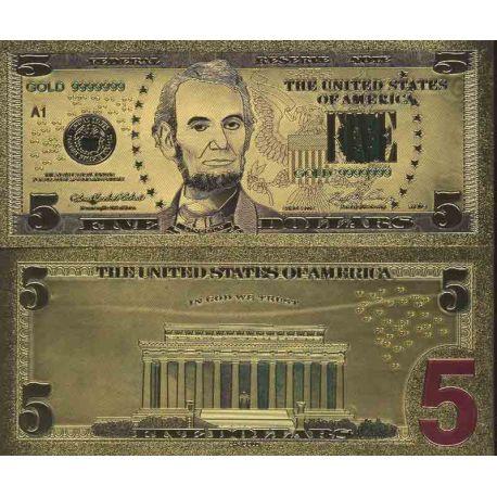 Etats Unis Billet de banque de 5 Dollar colorisé et doré à l'or fin 24K