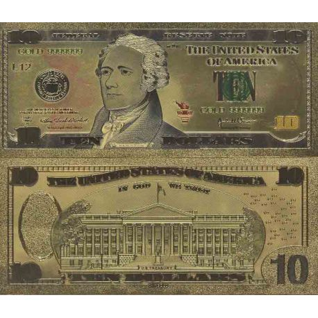 Etats Unis Billet de banque de 10 Dollar colorisé et doré à l'or fin 24K