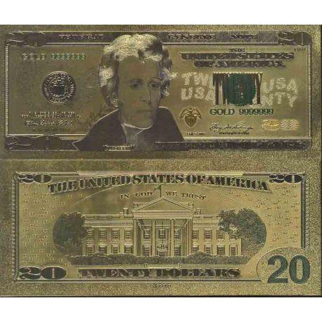 Etats Unis Billet de banque de 20 Dollar colorisé et doré à l'or fin 24K
