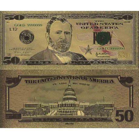 Etats Unis Billet de banque de 50 Dollar colorisé et doré à l'or fin 24K