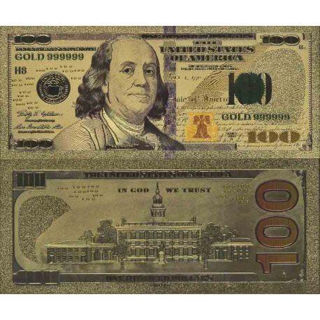 Etats Unis Billet de banque de 100 Dollar colorisé et doré à l'or fin 24K