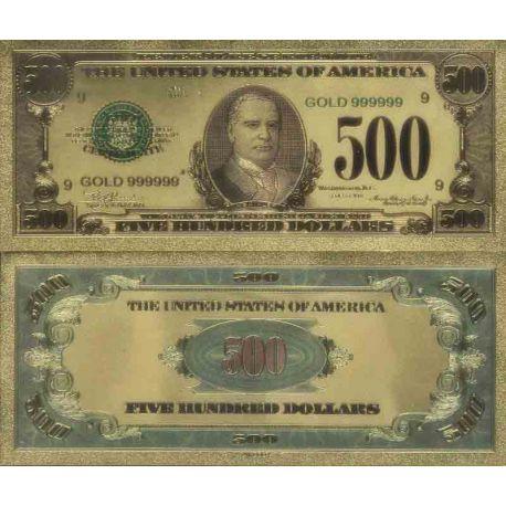 Etats Unis Billet de banque de 500 Dollar colorisé et doré à l'or fin 24K