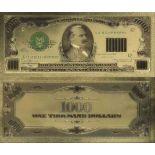 Etats Unis Billet de banque de 1000 Dollar colorisé et doré à l'or fin 24K