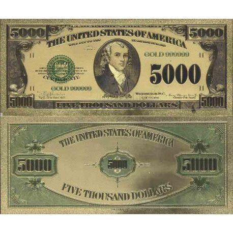 Etats Unis Billet de banque de 5000 Dollar colorisé et doré à l'or fin 24K