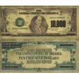 Die Vereinigten Staaten Banknote von 10000 Dollar, der koloriert, und der am feinen Gold vergoldet wurde, 24K