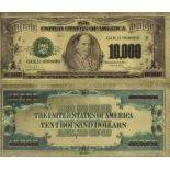 The Banknote United States of 10000 Dollar colourized and gilded with the fine gold 24K