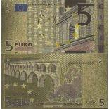 Europe Billet de banque de 5 EURO colorisé et doré à l'or fin 24K