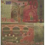 Europa Banknote von 10 EURO, der koloriert, und der am feinen Gold vergoldet wurde, 24K