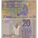 Europe Banknote of 20 EURO colourized and gilded with the fine gold 24K