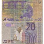 Europe Billet de banque de 20 EURO colorisé et doré à l'or fin 24K