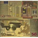 Europa Banknote von 50 EURO, der koloriert, und der am feinen Gold vergoldet wurde, 24K