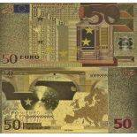 Europe Banknote of 50 EURO colourized and gilded with the fine gold 24K