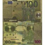 Europa Billete de banco de 100 EURO coloreado y dorado al oro fino 24K