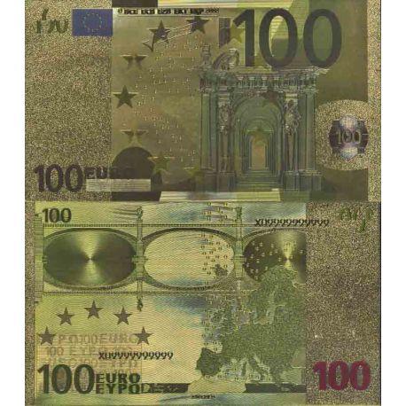 Europe Billet de banque de 100 EURO colorisé et doré à l'or fin 24K