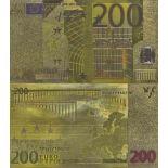 Europa Banknote von 200 EURO, der koloriert, und der am feinen Gold vergoldet wurde, 24K