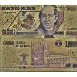 Mexico Banknote of 1000 Pesos colourized and gilded with the fine gold 24K
