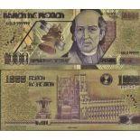 Mexique Billet de banque de 1000 Pesos colorisé et doré à l'or fin 24K