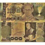 Thailand Banknote of 1000 Super colourized and gilded with the fine gold 24K