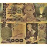 Thailand Banknote von 1000 Bath, die koloriert, und die am feinen Gold vergoldet wurde, 24K