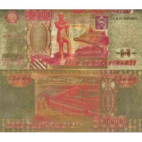 Russie - Urss Billet de banque de 5000 Rouble colorisé et doré à l'or fin 24K