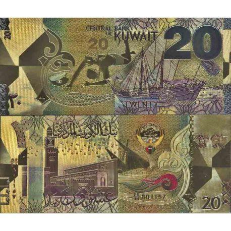 Koweit Billet de banque de 20 Dinars colorisé et doré à l'or fin 24K