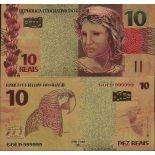 Brasile biglietto di banca di 10 Reais e dorato all'oro fine 24K