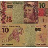 Brésil Billet de banque de 10 Reais colorisé et doré à l'or fin 24K