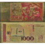 Die BRD Banknote von 1000 Deutsche Mark, die koloriert, und die am feinen Gold vergoldet wurde, 24K