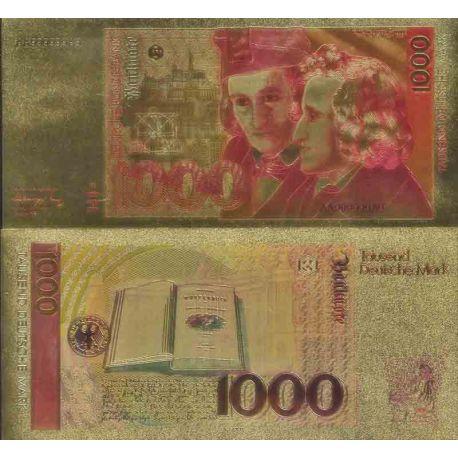 RFA Billet de banque de 1000 Deutsche Mark colorisé et doré à l'or fin 24K
