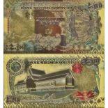 Malaisie Billet de banque de 50 Ringgit colorisé et doré à l'or fin 24K