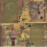 Malaysia Banknote von 2 Ringgit, das koloriert, und das am feinen Gold vergoldet wurde, 24K