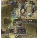Italien Banknote von 10000 koloriert und vergoldet am feinen Gold 24K Lire